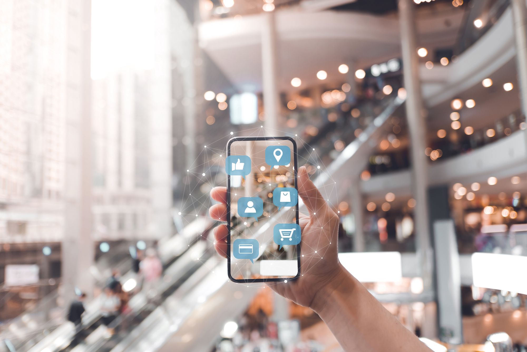 Mobile apps in shopping centre